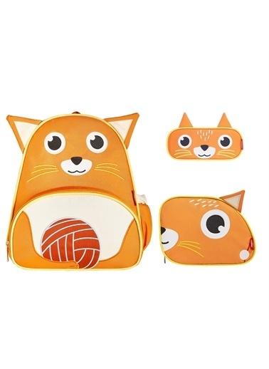 Zoozy Kedi Çanta Seti (Sırt Çanta-Beslenme Çantası-Kalemlik) Renkli